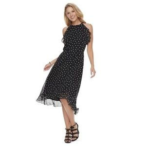 Elle Dot Ruffle High-Low Halter Dress